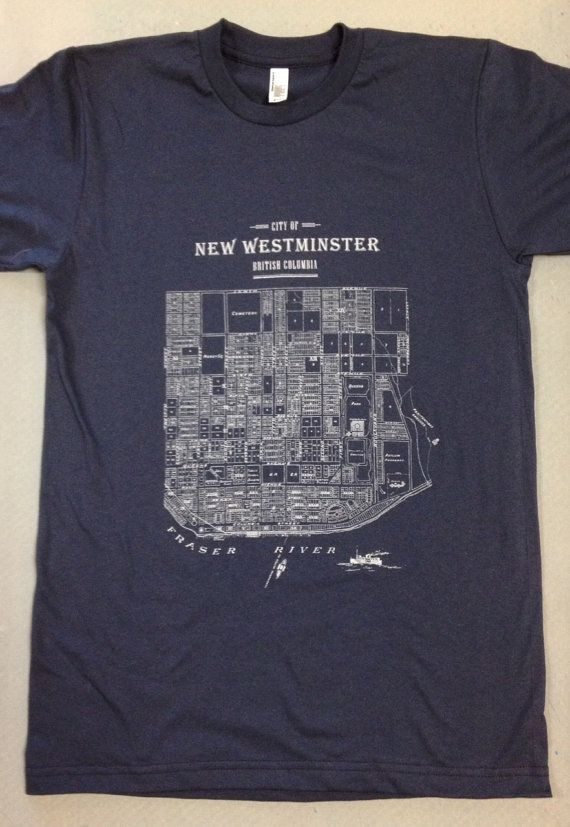 New Westminster Map Hand printed Unisex Tshirt by TheHivePrinting, $28.00
