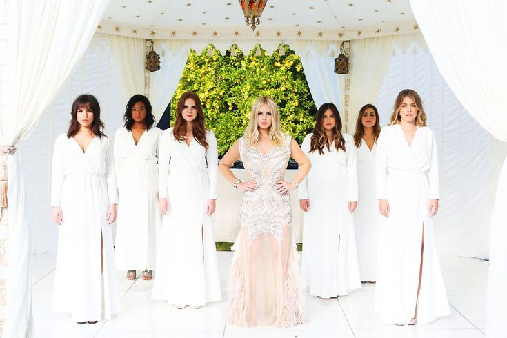 """Inside The Ultimate Fashion Girl's Palm Springs Wedding #refinery29  http://www.refinery29.com/2015/03/83704/amanda-thomas-luvaj-palm-springs-wedding-pictures#slide-16  """"My best friends, Cydney and Dallas, are the owners and designers of Stone Cold Fox, an L.A.-based line known for its boho-inspired silk dresses. My bridesmaids ranged from a size 0 to nine months pregnant at the time, so I knew we had to do something custom to fit everyone perfectly. They let us choose the silks and blend a…"""