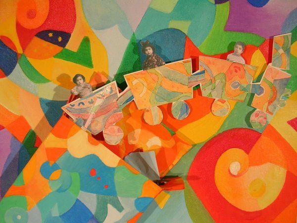 LC, Il trenino tunisino, olio e collage, 2004, dett.  Desideri   http://visionipoetiche.com/2013/04/21/desideri-wishes/