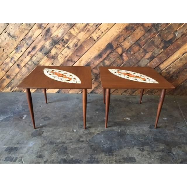 Image of Mid-Century Mosaic Tile Side Tables - A Pair