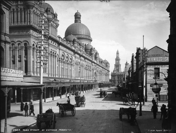 The Queen Victoria Building on York Street, looking toward the Sydney Town Hall, c.1900.