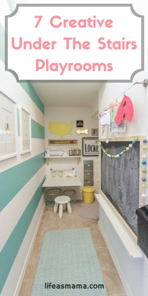 The free space under your stairs can easily be used as a mini homework space, a cozy reading nook, or a fun place to hang out and play, but you'd better get on it before they get too big to fit!
