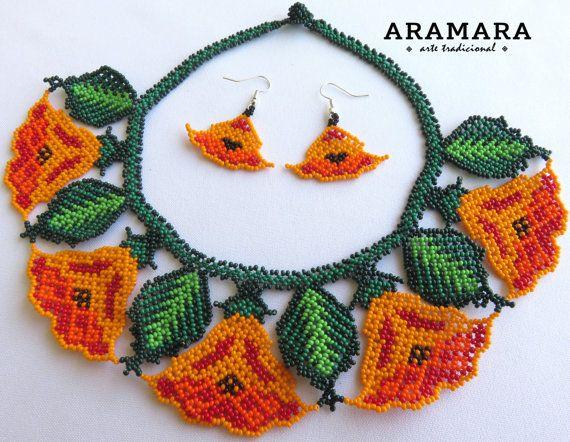 Huichol yellow flowers necklace and earrings set by Aramara on Etsy (www.etsy.com/uk/people/Aramara)
