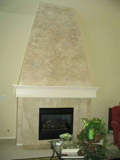 Vanitian plaster fireplaces textured venetian plaster finish color washed and waxed on a - Fireplace finish ideas ...