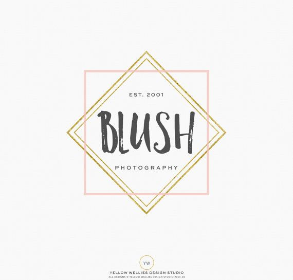 Premade Logo Desing  Modern Gold & Blush by YellowWelliesDesigns