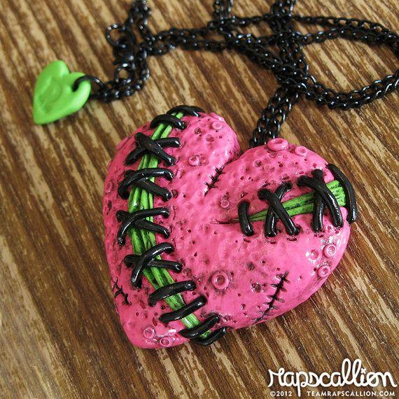 Genähte Zombie Herz Halskette - Hot Pink
