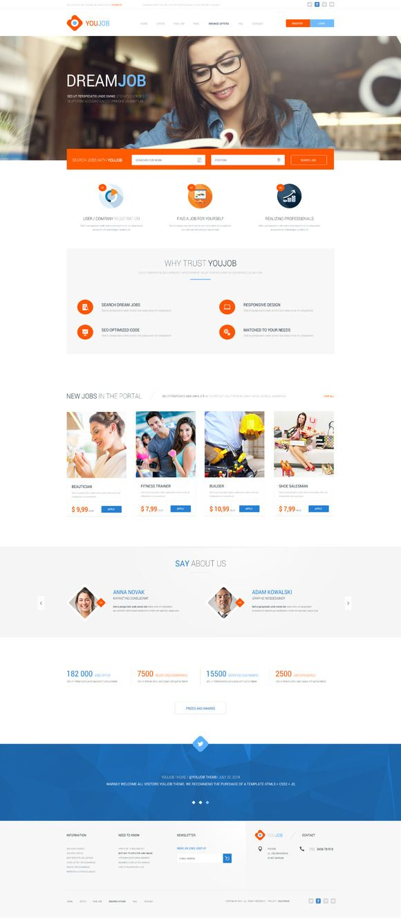 YouJob - Job Portal (HTML+PSD) by KulStudio on Creative Market