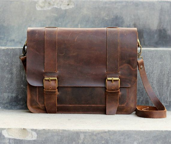 Mens Leather Satchel / Ipad Mini Messenger / Leather by JooJoobs, $189.00