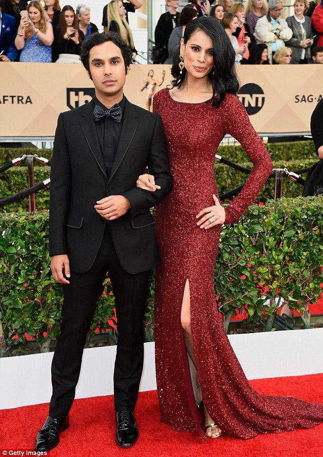 Dynamic duo: Fellow Big Bang Theory star Kunal Nayyar looked handsome while accompanied by model wife Neha Kapur