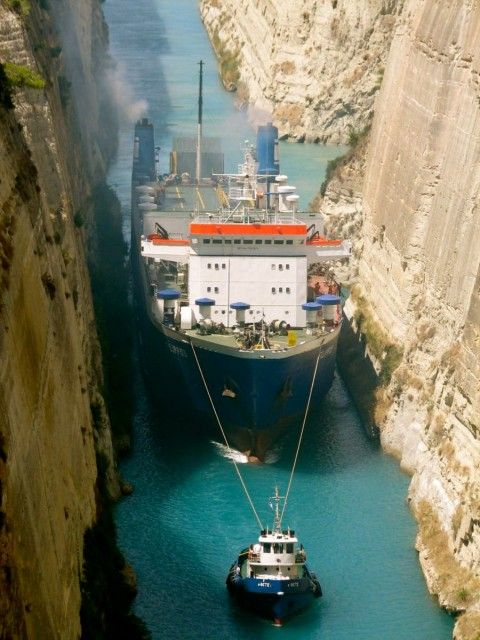 """Corinth Canal ... I swear, it appeared as if the edges of the cliffs were only 6"""" from our cruise ships edges.  Will never forget it. It was amazing."""