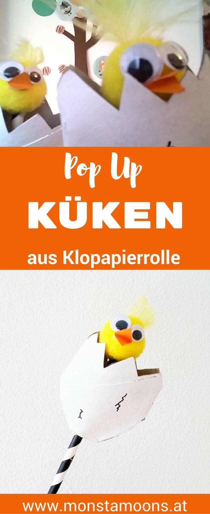 Pop-Up Küken, Küken basteln, Überraschungsei, Monstamoons, easter crafts, Basteln für Ostern, pop-up chick, chick crafts, pop-up crafts