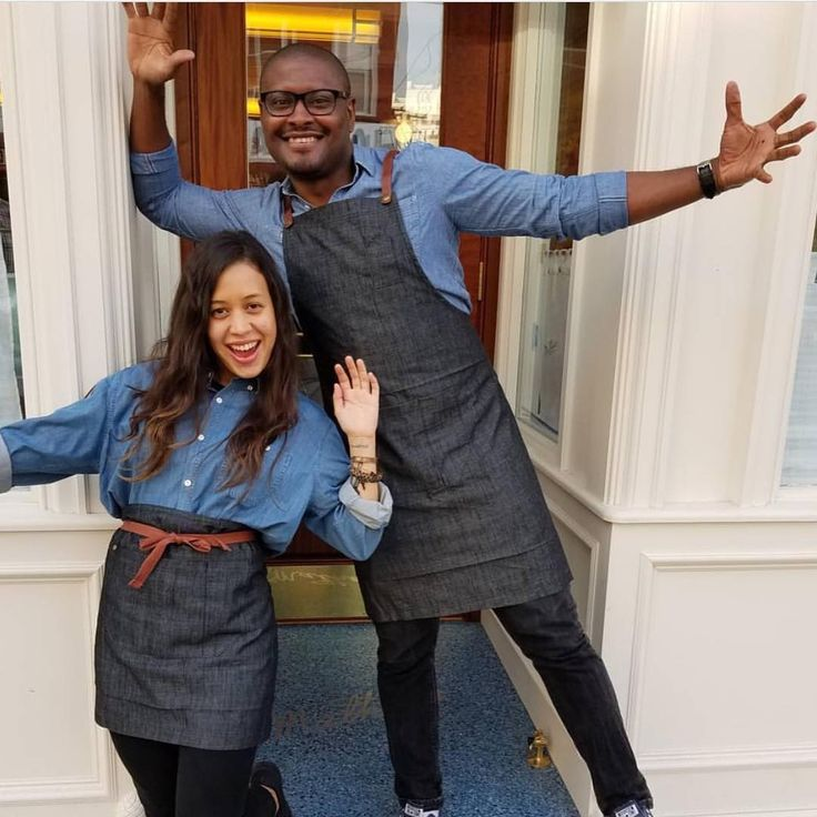 Mathews Food and Drink - Jersey City USA   Waiters uniforms by Cargo Crew - wearing Bailey Denim Shirts, with Charcoal Henry Aprons. All available from http://www.cargocrew.com.au/