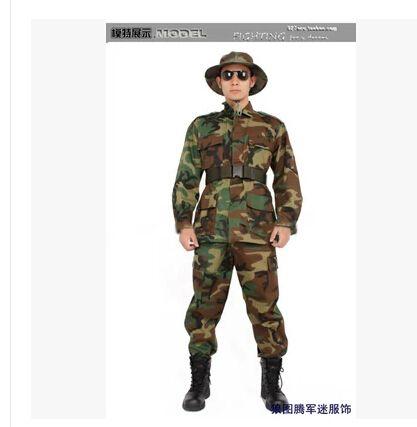 Армия сша BDU лесной камуфляж военная комплект мужчины охотничьи пальто + брюки cs борьбе равномерное военной одежды бесплатная доставка