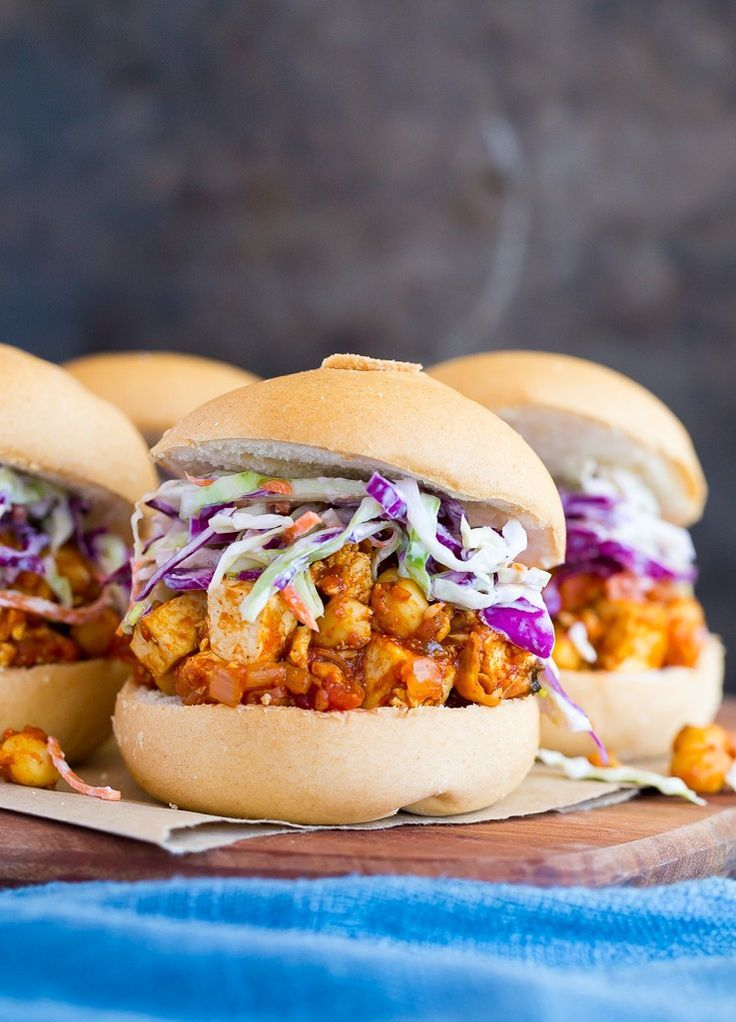 BBQ Tofu & Chickpea Sandwiches!  A delicious and flavorful vegetarian meal! {gluten free, vegan}