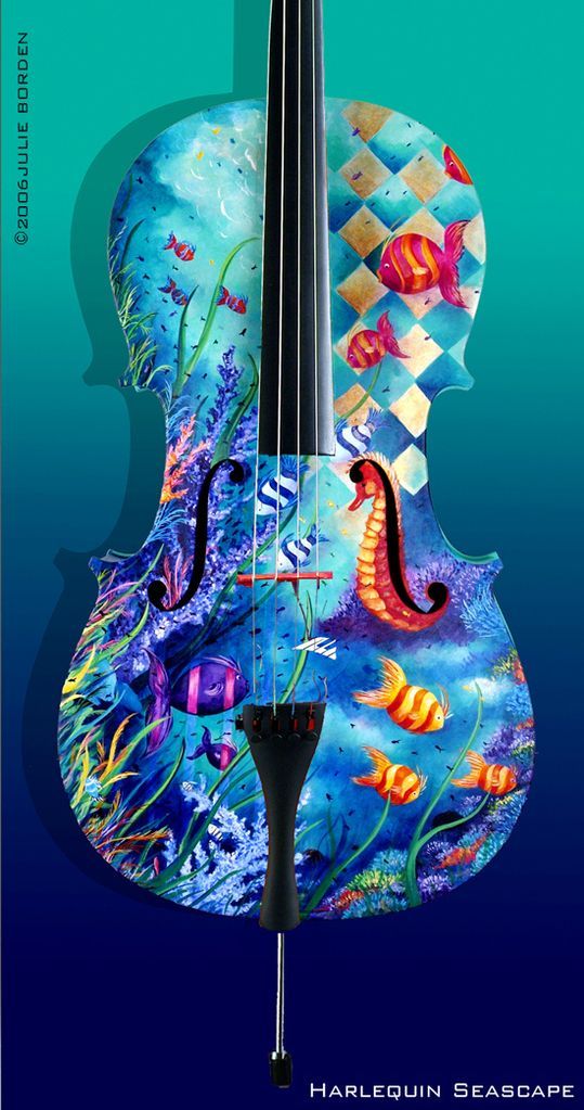 Awesome hand-painted cello  ♥ ♥ www.paintingyouwithwords.com...I played viola as a child and always wanted a painted one.  :-)  Cool!