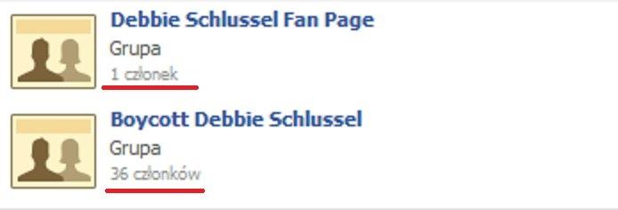 Debbie Schlussel Fan Page - 1 member Boycott Debbie Schlussel - 36 members  smart people know what to think ;)