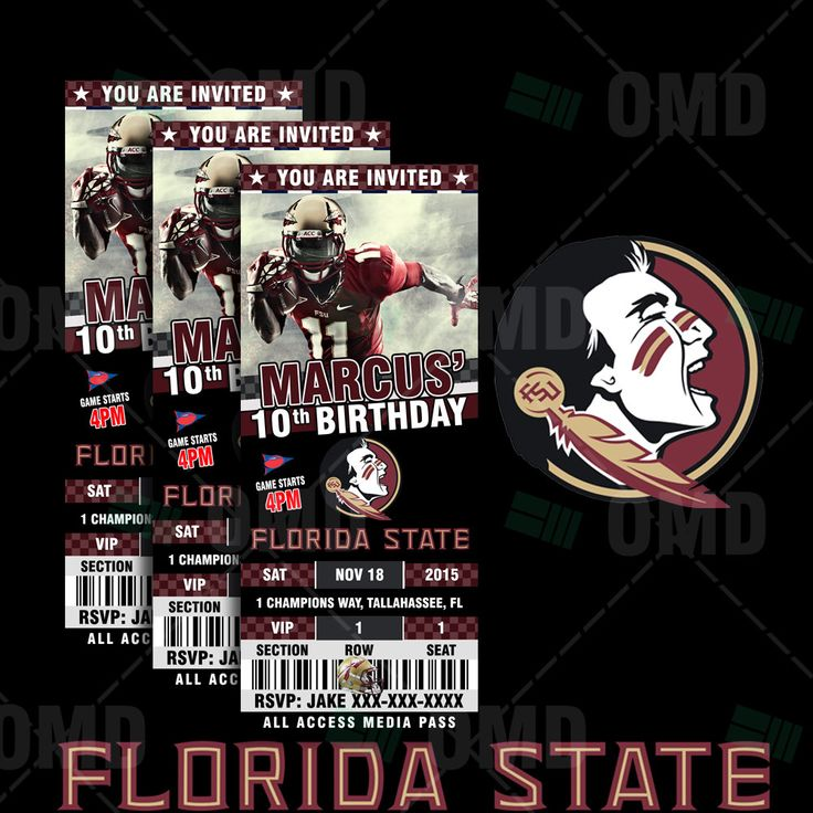 2.5x6 Florida State Seminoles Sports Party Invitation, Sports Tickets Invites, FSU Football Birthday Theme Party Template by sportsinvites on Etsy