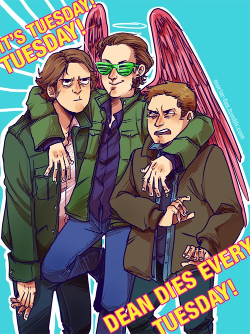 Sammy looking forward to the next day! Dean dying-Dean Dying! Crap! Dean Dying- Dean Dying! Crap!