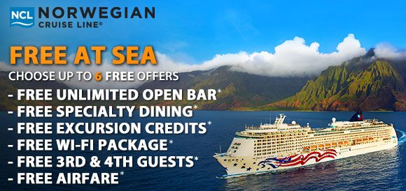 Pick Up To 6 Free Offers With Norwegian Cruise Line S Free At Sea Promotion Pick 1 For Studio Inside P Norwegian Cruise Cruise Deals Norwegian Cruise Line