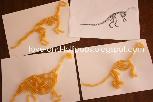 Love and Lollipops: Fun with Dinosaurs {Dinosaur Fossil Pasta Pictures}