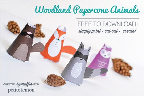 FREE printable Woodland Papercone Animals