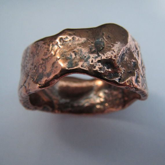Mens wedding ring rustic copper wedding band SIZE US 11.5 - 13 unique ring steampunk ready to ship on Etsy, $146.00