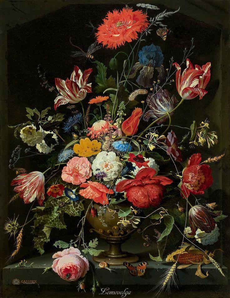 Абрахам Миньон (1640–1679) Цветы в металлической вазе Маурицхёйс