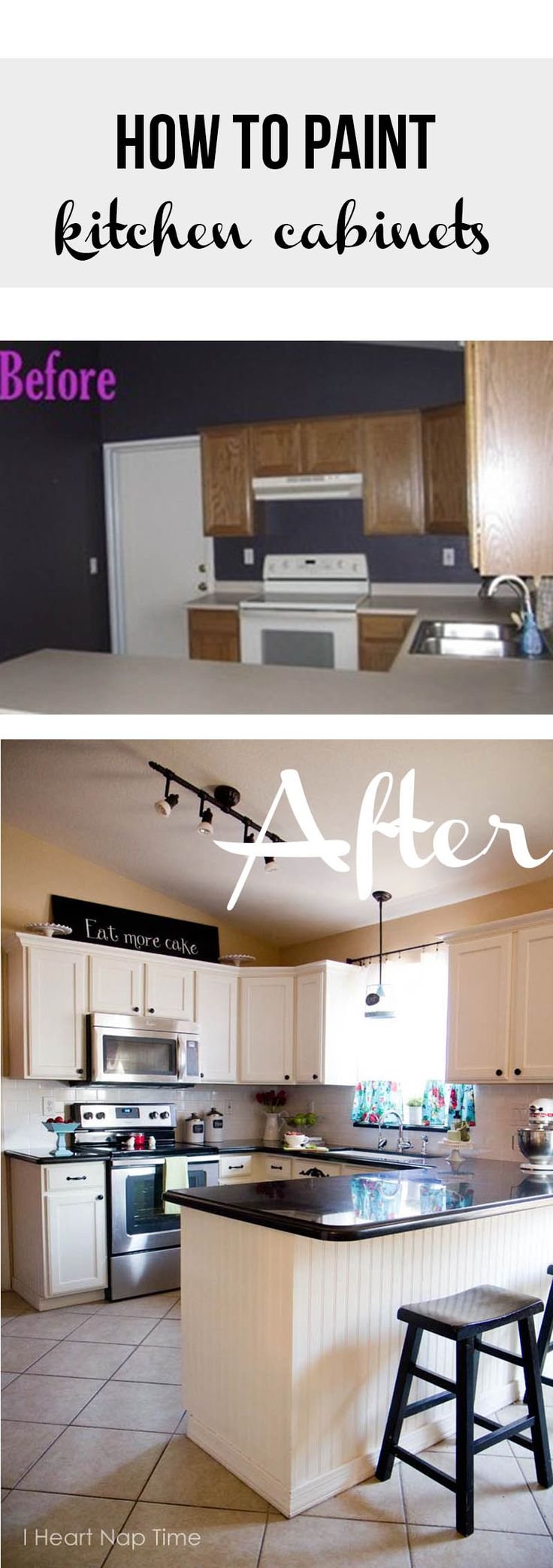 How to paint kitchen cabinets white -