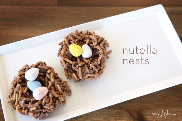 Nutella nests with Cadbury Mini Eggs on http://www.cherylstyle.com