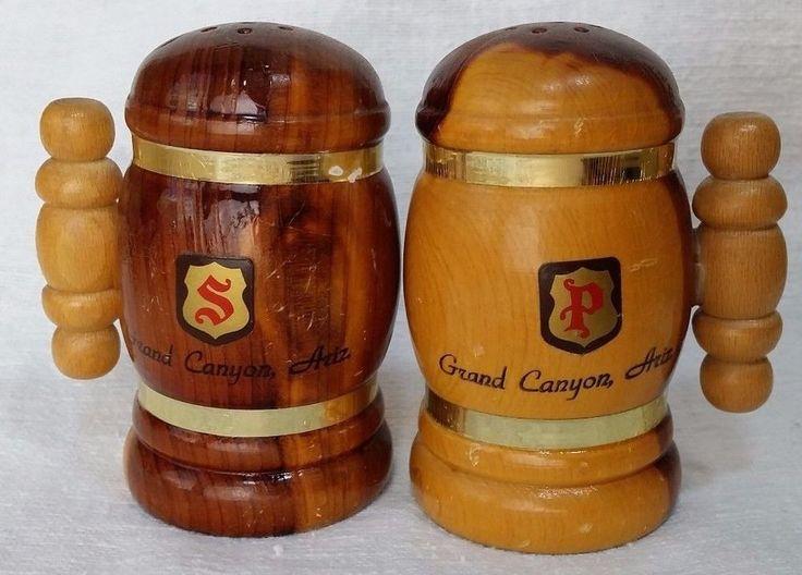 Vintage Mug Style Wood Stein souvenir Grand Canyon Salt & Pepper Shakers Set *et