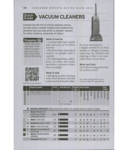 consumer reports buying guide 2012 vacuum cleaners - Consumers Report Vacuum Cleaners