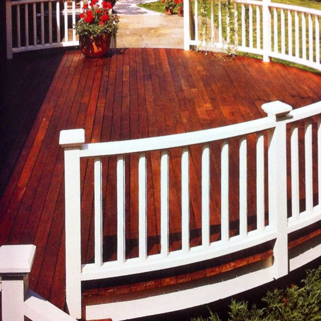 Painted railings and stained decking