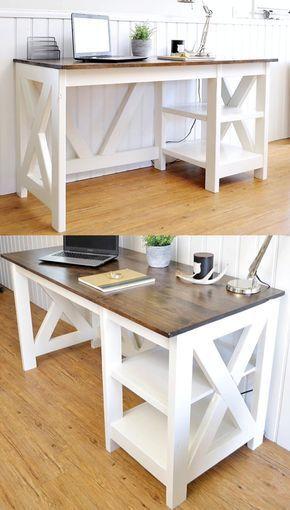 farmhouse x office desk woodwork farmhouse desk farmhouse rh pinterest com