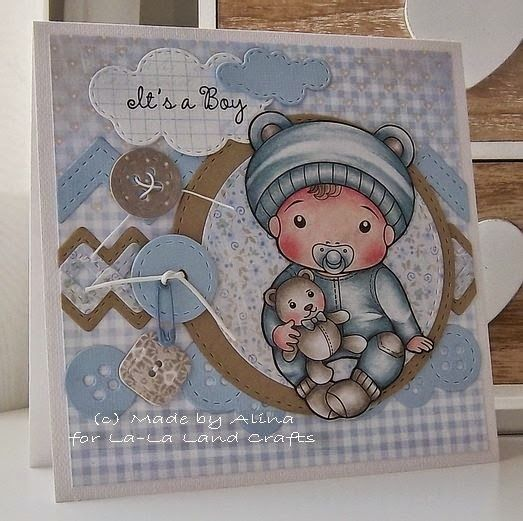From our Design Team! Card by Alina Meijer-Petrescu featuring Baby Luka and these Dies - Stitched Nested Circles (set of 7), Stitched Zigzags (set of 3), and Stitched Sun and Clouds (set of 3) :-) Shop for our products here - shop.lalalandcrafts.com  Coloring details and more Design Team inspiration here - http://lalalandcrafts.blogspot.ie/2015/02/inspiration-friday-sketch.html