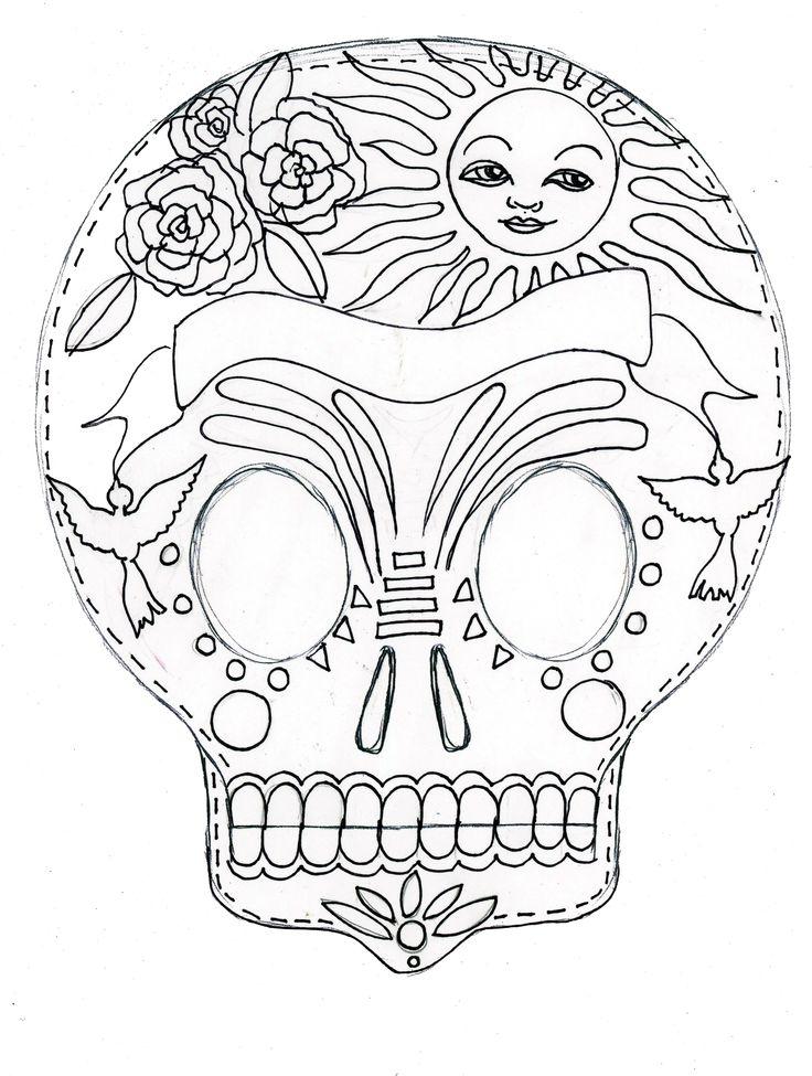 Dia De Los Muertos Printable Coloring Sheet Sugar Skull Page