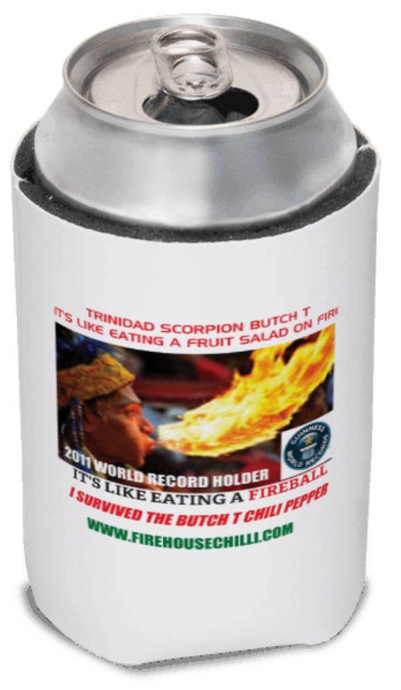 Trinidad Scorpion Butch T Chili Pepper Stubbie Cooler. Survived the Inferno Heat of the Butch T Chili Pepper? Sitting around bragging to your friends about the experience?. Keep your drinks cool with your own Trinidad Scorpion Butch T Stubbie Cooler with Bonus 10 Grams (1/4oz+) of Trinidad Scorpion Butch T Chili Pepper Powder.See at http://www.firehousechilli.com/firehousechilliweb1_019.htm