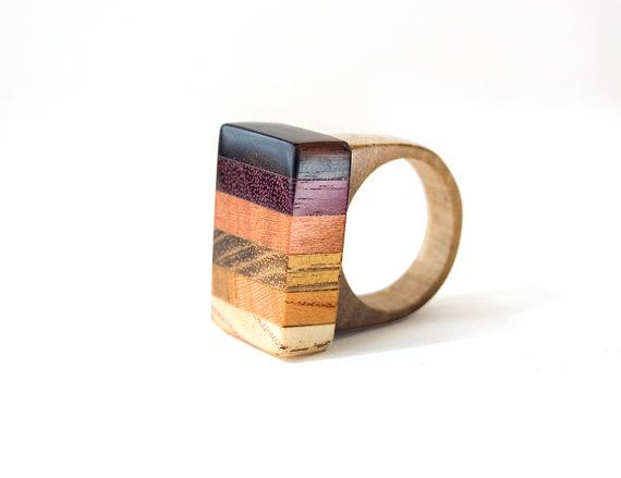 Wood Ring Geometric Ring Unisex Ring Girls by coolNaturalJewelry
