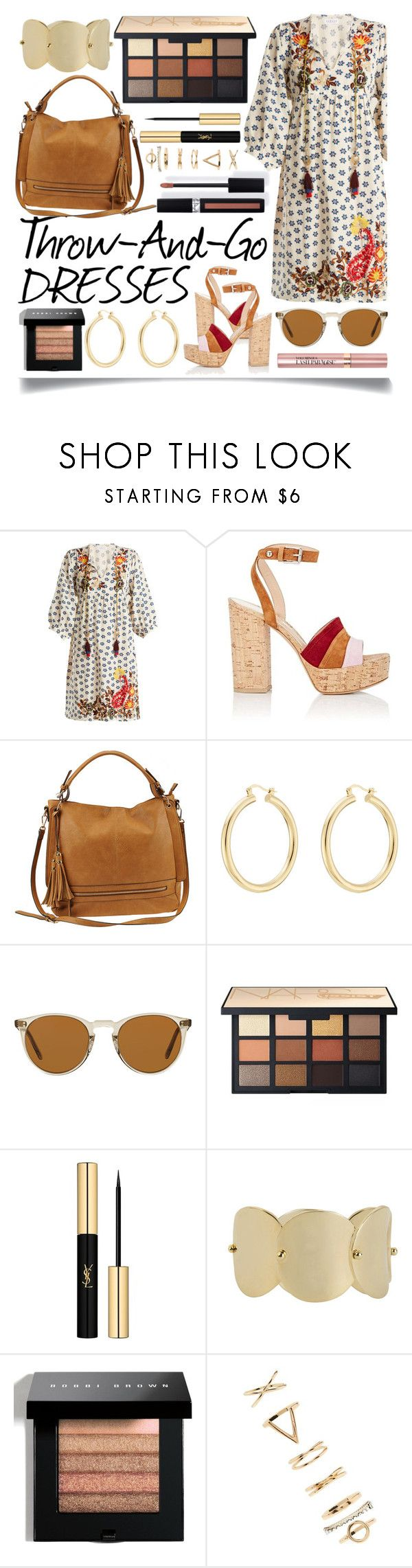"""""""Throw-And-Go Dresses"""" by ittie-kittie ❤ liked on Polyvore featuring Velvet by Graham & Spencer, Gianvito Rossi, Urban Expressions, Isabel Marant, Oliver Peoples, Yves Saint Laurent, Eddie Borgo, Bobbi Brown Cosmetics, Couture Colour and Forever 21"""