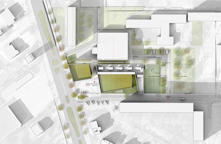 Music Conservatory in Melun / DE-SO /simple site plan,color,shadow