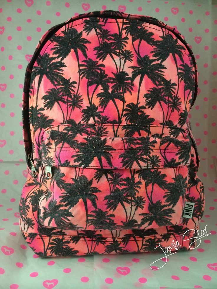 Victoria's Secret PINK Backpack Palm Tree Sunset Bookbag Neon Coral 2014 NWT HTF