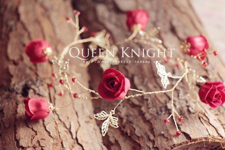 Эксклюзивный оригинальный дизайн старинные серии 18K золото листьев винограда красный бутон розы невесты оголовье головной убор - Taobao