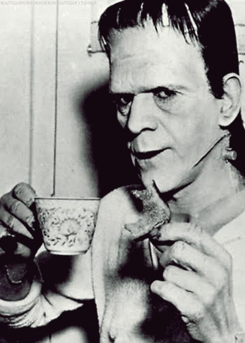 """CelebriTEA:  Boris Karloff's tea time on the set..... Cute pic to use in a """"monster diner"""" themed party"""