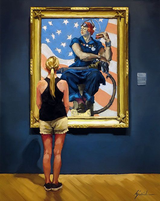 """""""Riveted"""" girl viewing Norman Rockwell's 'Rosie the Riveter' available thru Robert Lange Studios."""