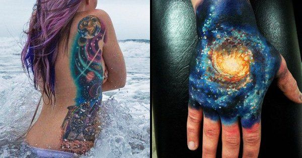Realistic, abstract, graphic or even new school, outer space tattoos are very poetic and worth seeing by tattoo lovers!