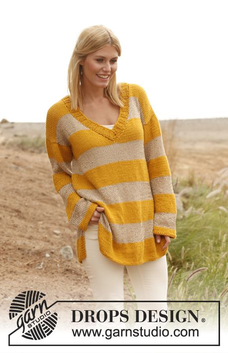 """Knitted DROPS baggy jumper in """"Paris"""" and """"Cotton Viscose"""". Size: S - XXXL ~ DROPS Design"""