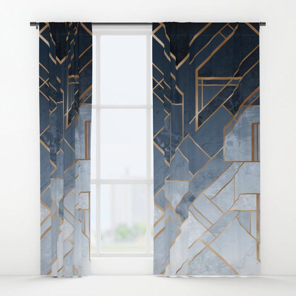 Blue And Gold Geometric Pattern Window Curtains 300 Sar Liked On Polyvore Featuring Home Home Blue And Gold Curtains Gold Curtains Gold Geometric Pattern