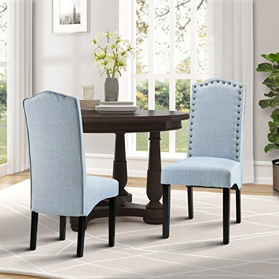 Merax Fabric Accent Chair Dining Room With Solid Wood Legs Set Of 2 Light Blue