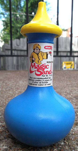 Magic Sand - I had this exact one. I loved playing with this stuff and I loved the bottle it was in.