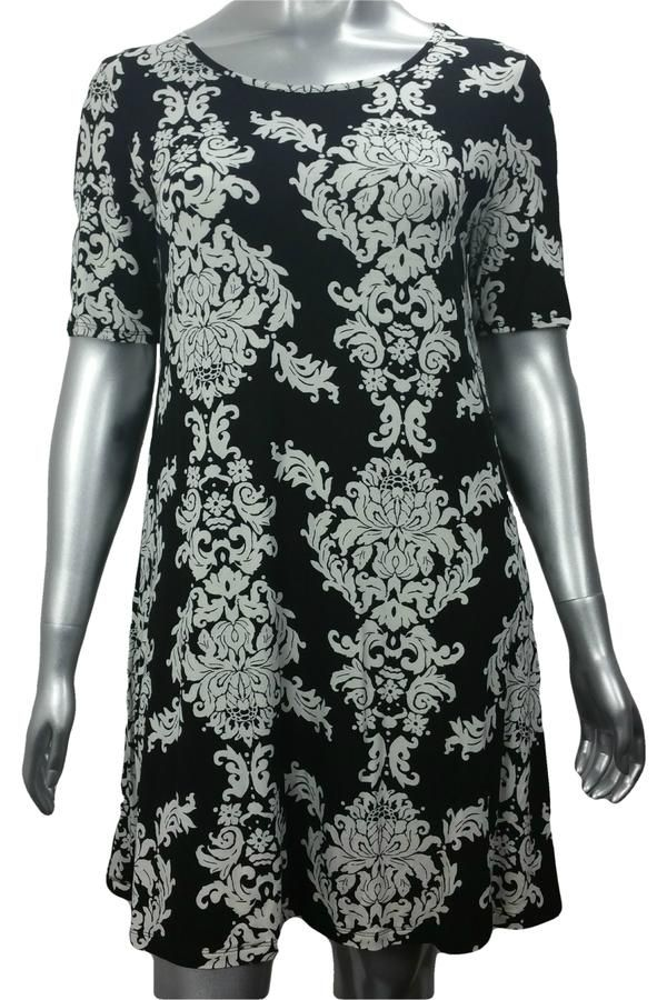 Black and white damask print work dress with sleeves