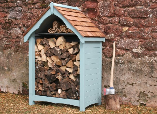 log store finished in tikkurila ultra blue handmade garden storage company exeter